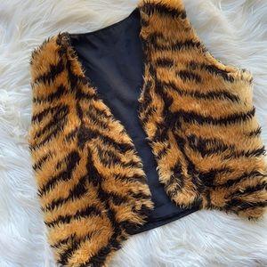 Faux tiger waistcoat dress up.